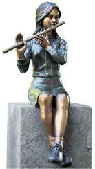 """Garden Sculpture """"Bianca with a Flute"""", Bronze"""