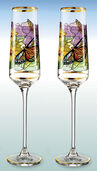"Set of 2 "" Sunflower"" champagne goblets - by Louis C. Tiffany"