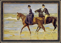 "Picture ""Riding man and woman on the beach"" (1903) in a frame"