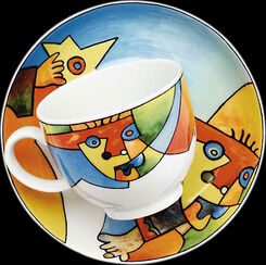 "Coffee cup and saucer ""Star Jumper"", porcelain"