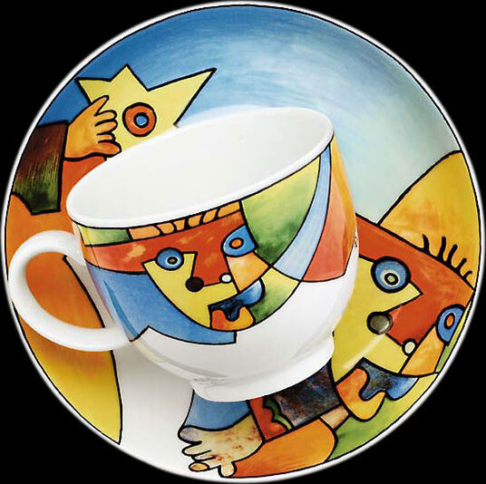 "Otmar Alt: Coffee cup and saucer ""Star Jumper"", porcelain"