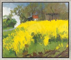 """Bild """"Rapsfeld bei Falshöft II (Je dunkler der Himmel)"""" (2009), gerahmt"""