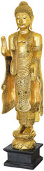 "Standing Buddha ""Shakyamuni"", Partially Gilded Wood"
