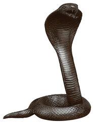 Kampflustig aufgerichtete Kobra, Bronze