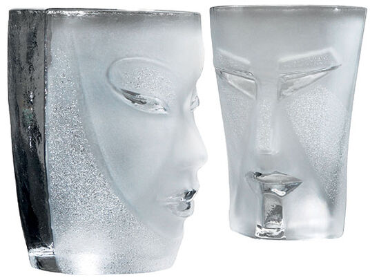 "Mats Jonasson: 2-Piece Set Water Glasses ""Kubik and Electra"", Version in White"