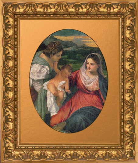 Tizian: Painting 'Madonna with Child and Saint Catherine' (around 1530), framed