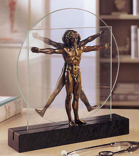 """Leonardo da Vinci: Skulptur """"Schema delle Proporzioni"""", Version in Bronze"""