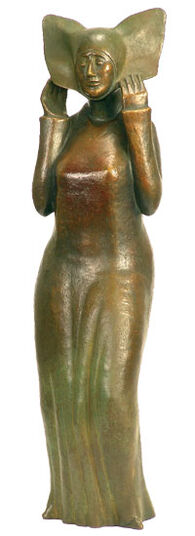 """Günter Grass: Sculpture """"white headdress"""", Bronze"""
