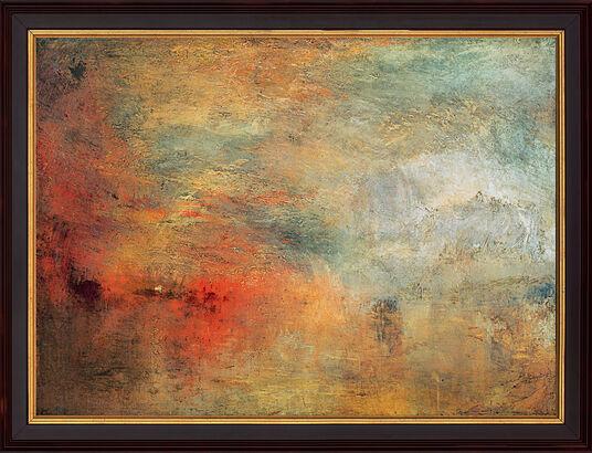 """William Turner: Bild """"Sonnenuntergang über einem See"""" (1840), gerahmt"""