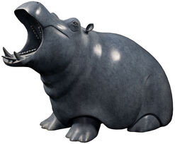 "Sculpture ""Hippo"", Bronze Grey/Black"