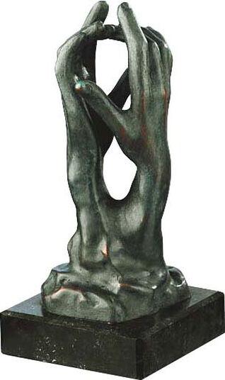 """Auguste Rodin: Sculpture """"The Cathedral"""" (Étude pour le secret """"), bronze art"""