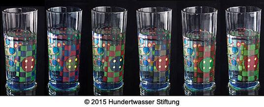 """Friedensreich Hundertwasser: 6-teiliges Set """"Regentag-Wassergläser"""" mit Buch"""
