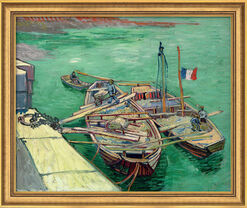 "Painting ""Rhone Boats"" (1888) in museum framing"