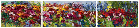 "Ben Kamili: 3-teiliges Bild ""Blütenpracht"" (2015) (Original / Unikat), ungerahmt"