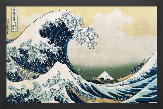 "Katsushika Hokusai: Bild ""Die große Welle vor Kanagawa"" (1830), gerahmt"