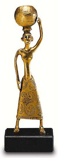 Small sculpture 'Water Carrier', gold-plated cast metal
