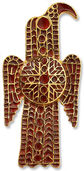 Ostrogoth eagle belt buckle, gold-plated bronze