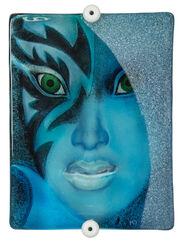 "Wall Sculpture ""Blue Roxane"", Glass on Wood"
