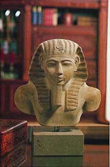 Bust of a seated statue of Amenhotep I., art castings