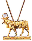 "Ancient Egyptian zodiac sign ""Taurus"" (21.4.-20.5.) Necklace with a lucky stone,"