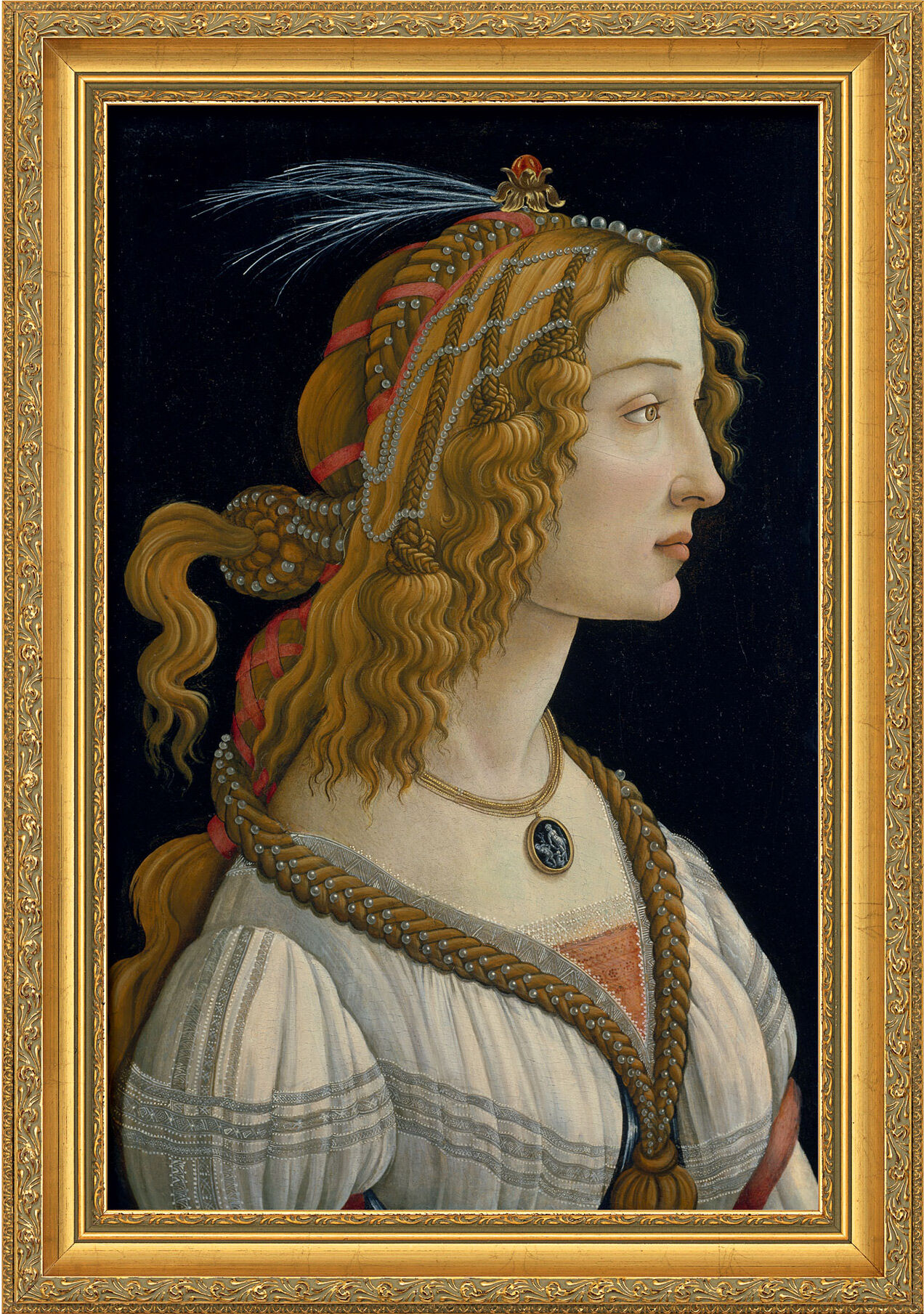 "Painting ""Feminine Ideal Image"" (1485/86) in a frame"