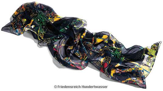 """Friedensreich Hundertwasser: Seidenschal """"Dunkelbunt"""""""