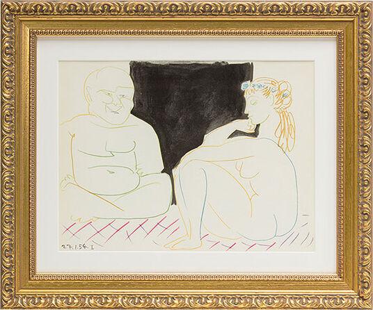 """Pablo Picasso: Bild """"Mann und Modell"""" (1954), gerahmt"""