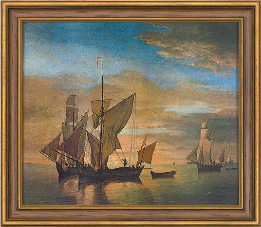 """Willem van de Velde: Bild """"Schiffe auf ruhiger See im Abendlicht"""" (1685), gerahmt"""