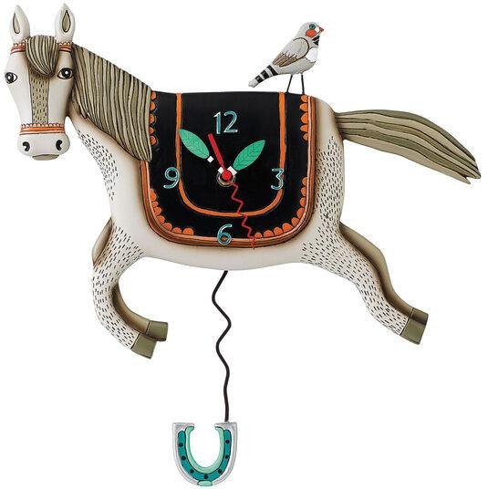 """Michelle & Gary Allen: Wanduhr """"Horse"""", Keramik handbemalt"""