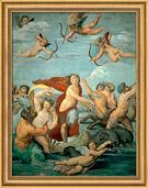 "Painting ""Galatea's Triumph"" (1512/13) in museum framing"