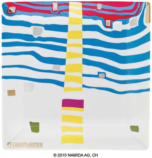 """Friedensreich Hundertwasser: Gabenschale """"Detail of Infinity"""" (23 x 23 cm, weiß)"""