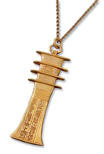 Djed pfeiler-Gold amulet on belcher chain, 925 silver