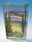 "Glass Vase ""Landscape with Iris"""