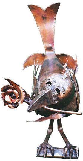 """Marcus Beitelhoff: Sculpture """"Raven cavalier"""", copper"""