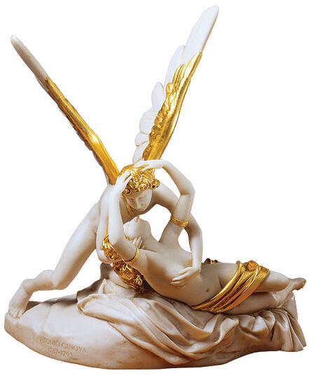 "Antonio Canova: Sculpture ""Amor and Psyche"" (1793), reduction in artificial marble, partly gilded"