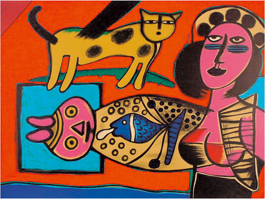 """Corneille: Lithograph """"Femme, Chat et l'Oiseau - Woman, Cat and Bird"""" (1999), no frame"""