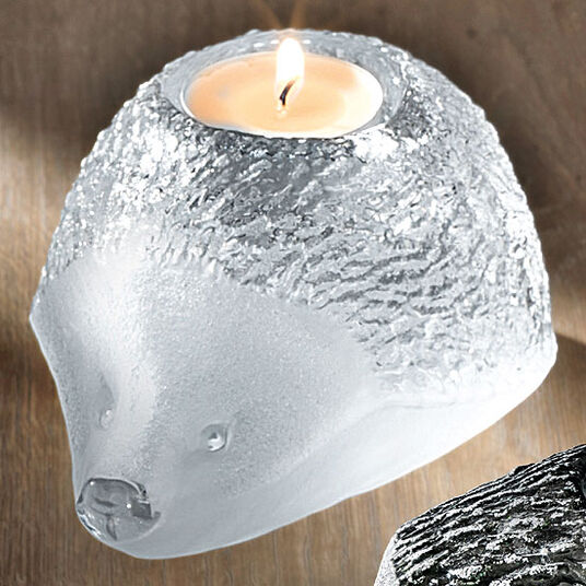 "Mats Jonasson: Glass tea candle holder ""Hedgehog"", white version"