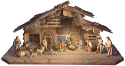 "Wood Carved Sculpture Set ""The Ulrich Shepherd Crib"", 15-Piece"