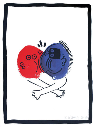 "Keith Haring: Bild ""The Story of Red and Blue, Blatt 19"" (1989/90)"