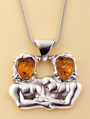 "Amber Necklace ""Gemini"""