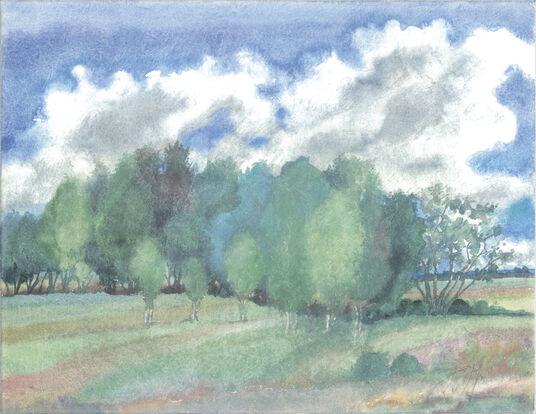 """Günter Grass: Bild """"Landschaft mit Birken"""" (2002)"""
