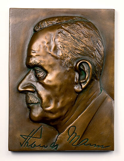"Peter Hohberger: Wall relief ""Thomas Mann"", Artificial Bronze"
