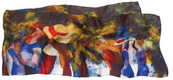 "Silk scarf ""Girls under the trees"""