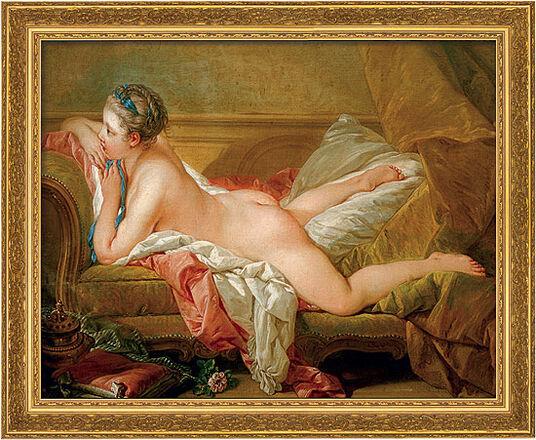 "Francois Boucher: Bild ""Ruhendes Mädchen"" (1752), gerahmt"