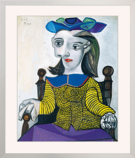 pablo picasso bild der gelbe pullover 1939 gerahmt ars mundi. Black Bedroom Furniture Sets. Home Design Ideas
