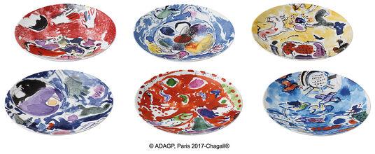 Marc Chagall: Les Vitraux d'Hadassah von Bernardaud - 6-teiliges Tellerset mit Künstlermotiven, Porzellan