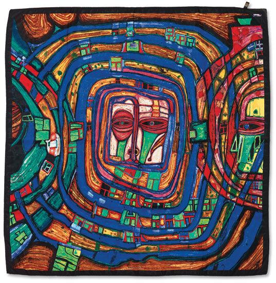 Friedensreich Hundertwasser: Seidentuch ´Jacqui...
