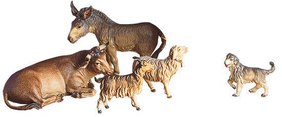 Krippenfiguren ´Ochse, Esel, Schaf, Ziege und Hund´, Holz handbemalt , Ikone