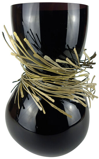 : Vase ´Festive schwarz´, Glas/Bronze, Glas/Kristall
