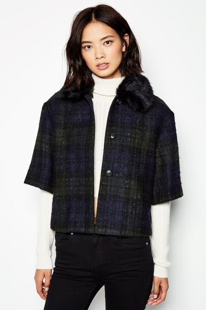 AUCKLAND CHECKED CAPE JACKET